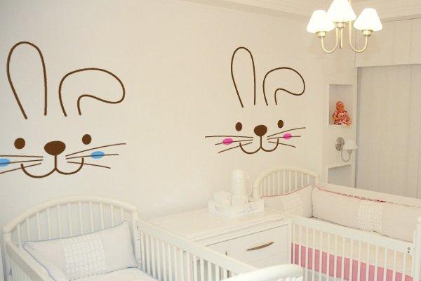 adesivo-parede-decoração-quarto-bebe-coelhinhos-gêmeos