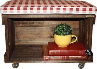 caixote de madeira banco prateleira