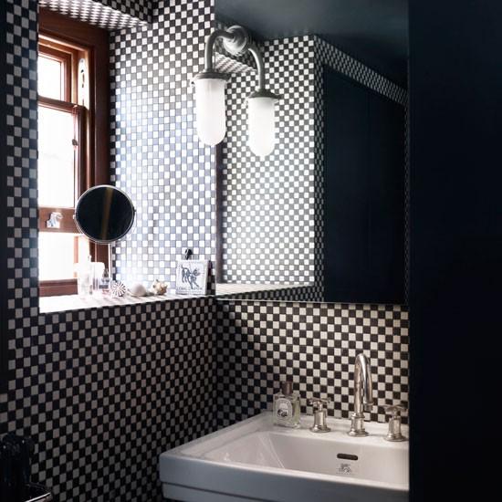 Xadrez na decoração Dicas e inspirações para criar ambientes lindos!  Blog  -> Banheiro Pequeno Decorado Em Preto E Branco